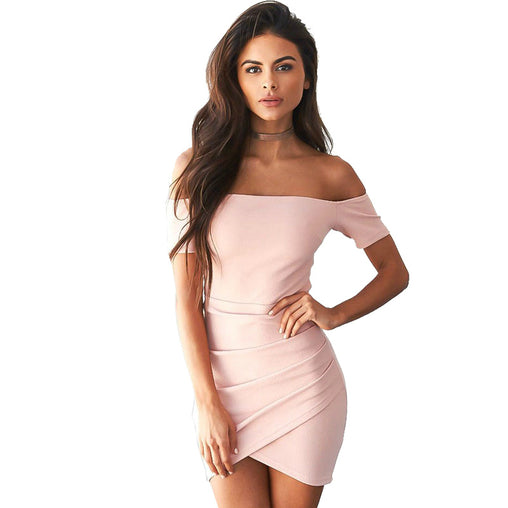 Off the Shoulder Irregular Sheath Evening Party Bodycon Mini Dress