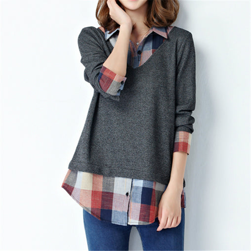 Black Grey Long Sleeve Plaid Patchwork Plus Size Shirts Tops