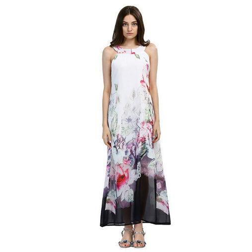 White Summer Sundress Sleeveless Floral Print Plus Size Long Boho Maxi Dress