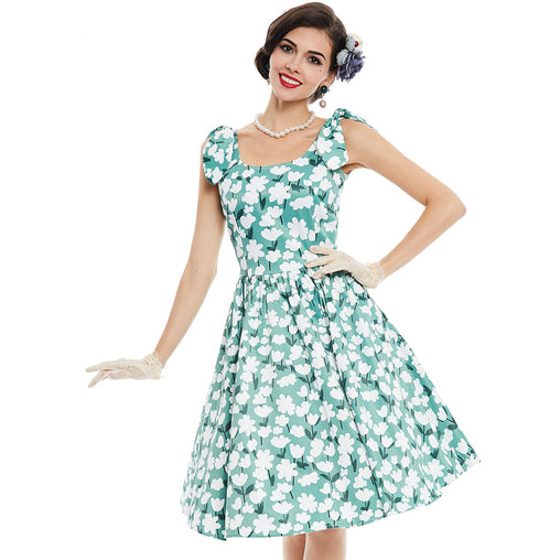 Green Sleeveless A Line Party 50s Rockabilly Audrey Hepburn Style Flower Print Swing Vintage Dresses
