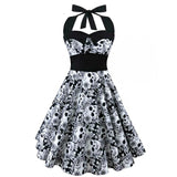 Retro Vintage 50s Style Sleeveless 3D Skull Floral Print Summer Dress Halter Plus Size Swing Dress