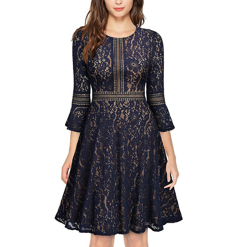 Women O Neck 3/4 Flare Sleeve Floral Lace Crochet Hollow Out Swing Cocktail Midi Dress