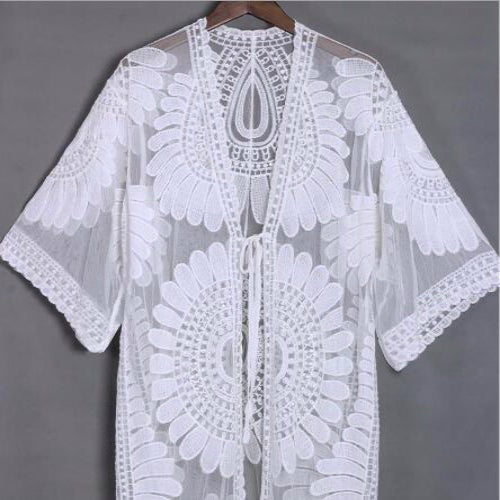 White Lace Embroidery Bikini Swimsuit Cover Ups Summer Beach Dress