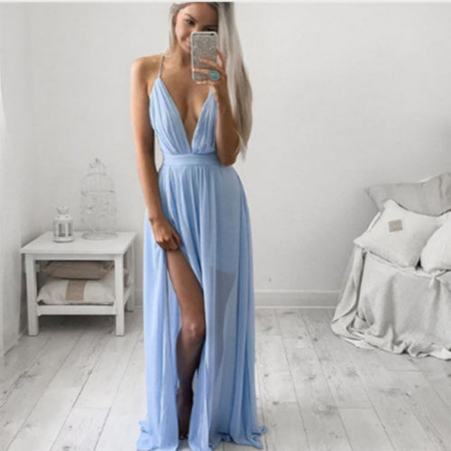 Blue Summer Chiffon Sleeveless Boho Sleeveless Spaghetti Strap Party Long Beach Maxi Dress