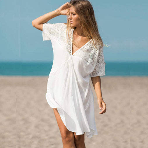 White V Neck A-line Lace Patchwork Short Summer Beach Dress Swimwear Cover-Ups