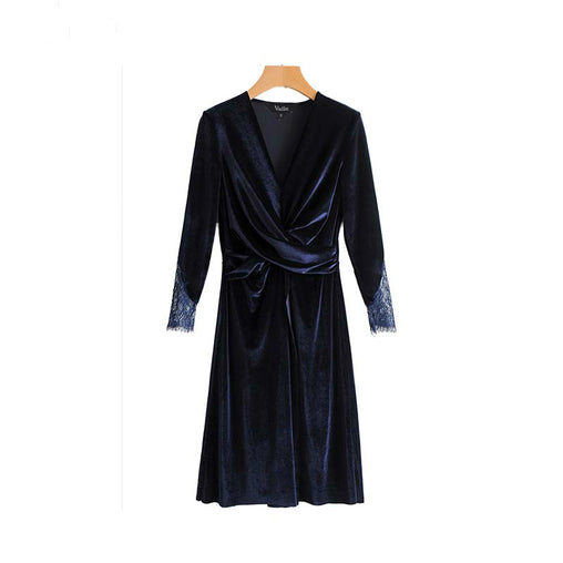 Vintage V Neck Long Sleeve Lace Patchwork Pleated Split Velvet Midi Dress