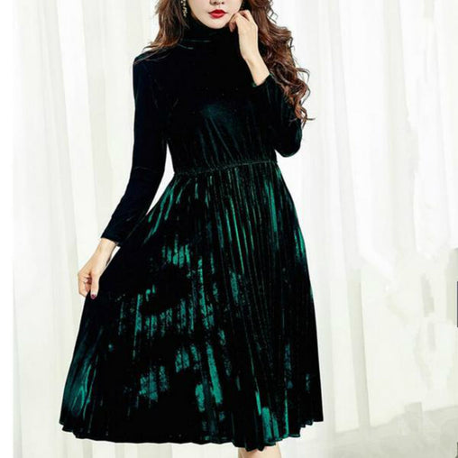 Fashion A-line Pleated Vintage Long Sleeve Velvet Midi Dress