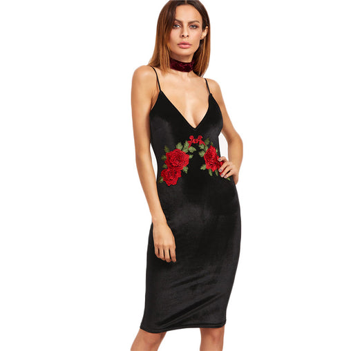 Black Rose Embroidered Deep V Neck Backless Velvet Straps Cami Bodycon Midi Dress