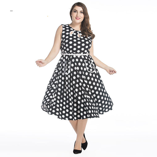 Plus Size Vintage Summer Polka Dot Print Retro 50s Swing Dress