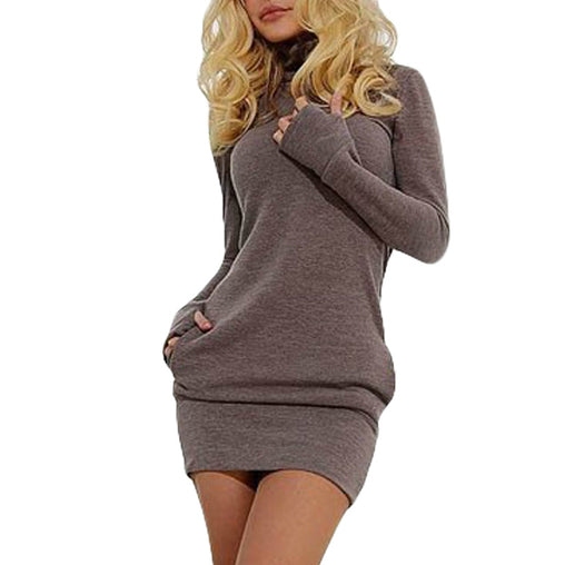 Women Thumb Out Long Sleeve Short Dress With Pockets