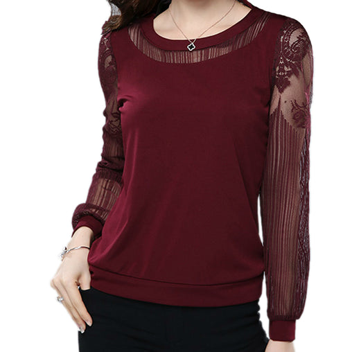 Casual Long Sleeve Chiffon Lace Blouse Plus Size