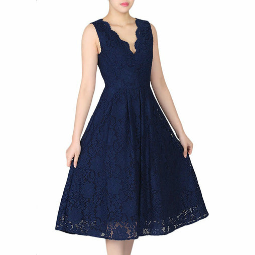 Summer Vintage Sleeveless V-neck Midi Swing Midi Party Lace Dress