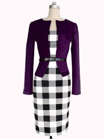 Plaid Pencil Work Dress Long Sleeve Fake Two Pieces Dress Workwear