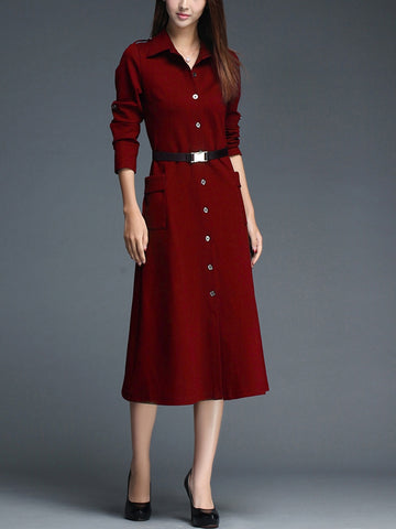 Fall Long Sleeve Work DressSingle-breasted Midi Shirt Dress with Belt