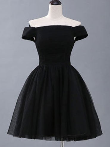Black Short Homecoming Graduation Off the Shoulder Hepburn Evening Dress
