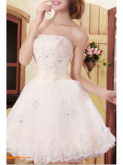 White Short Homecoming Beading Lace Stitching Tube Graduation Dress
