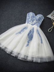Short Homecoming Embroidery Tutu Tube Bridesmaid Dress