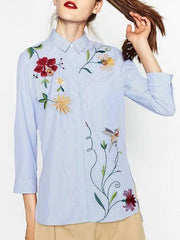 Blue Shirt With Striped Floral Embroidered Long Sleeve Sweet Tops
