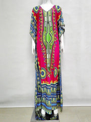 Caftan Dashiki Dress African Printed Bat Sleeve Maxi Dresses