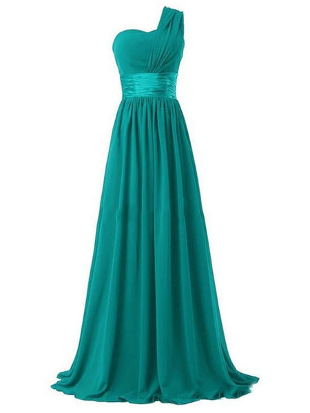 One Shoulder Chiffon Long Evening Prom Bridesmaids Dress