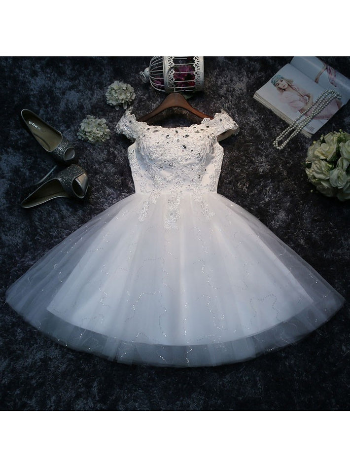 Short Homecoming Off The Shoulder Lace Beading Bridesmaid Wedding Dress