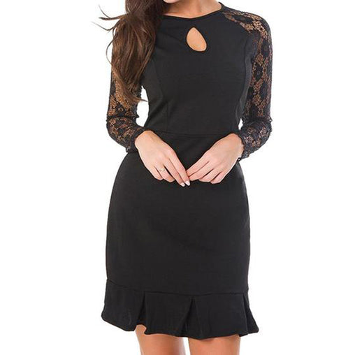 ad9adf03c4bb8 Elegant Cocktail Party Long Sleeves Flounced Lace Hollow Out Short Dress.  Black; Burgundy; Blue. VSChic