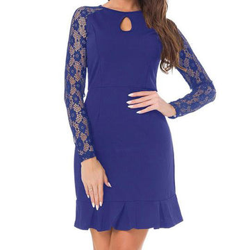 Elegant Cocktail Party Long Sleeves Flounced Lace Hollow Out Short Dress