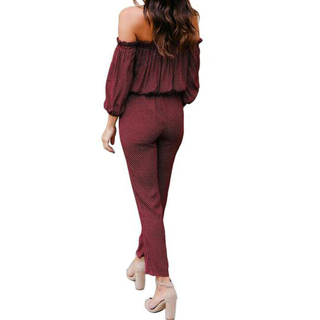 9da69b69825 Rompers Sexy Full Length Off Shoulder Dot Print Elastic Waist Overall  Playsuit Jumpsuit