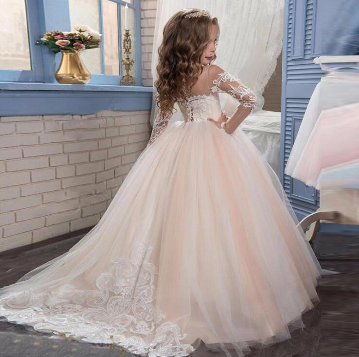 292d6a2f08a Long Sleeve Champagne Puffy Lace Flower Girl Dress 2-13 Years 2019 ...
