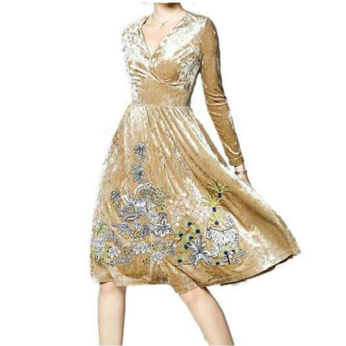 Vintage Elegant V-neck Long Sleeve Flower Embroidery Evening Party Midi Velvet Dress