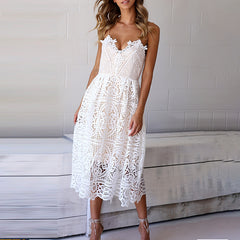 High Quality White Lace Dress Backless Spaghetti Strap Long Prom Wedding Dress