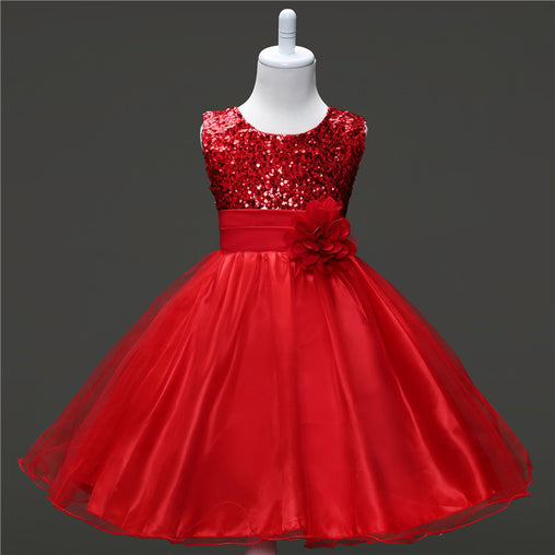 Ball Gown Empire Knee-Length Flower Girl Dress Tulle Sequined Sleeveless Jewel with Flower