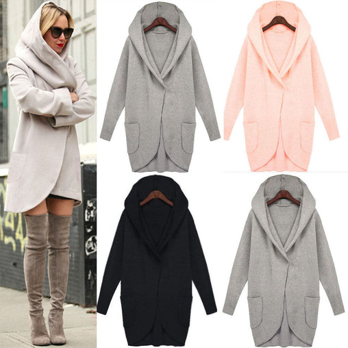 Plus Size Women Winter Autumn Slim Long Style Soild Woolen Hooded Coats