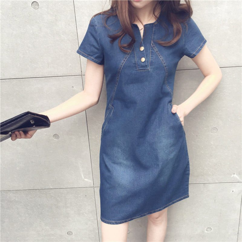 Fashion Plus Size Summer A-line Jean Dresses With Side Pockets