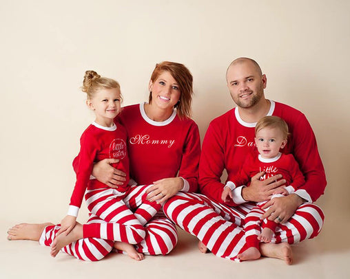 Red Pajama Sets Matching Christmas Family Clothes Mom Dad Girl Boy Family Pajamas