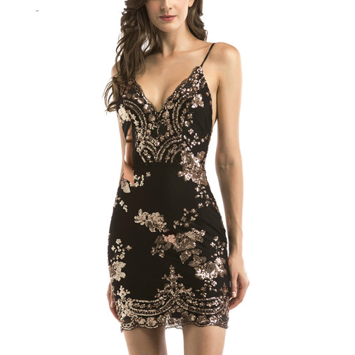 8b868ab40a7 Sequins Summer Bodycon Dress V-Neck Straps Backless Gold Black Party Club  Mini Dress