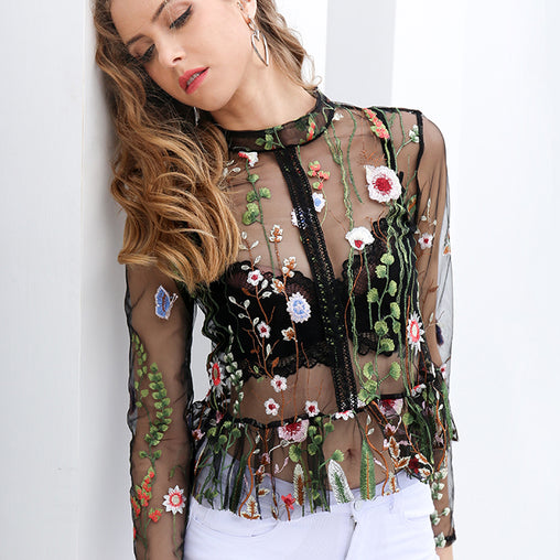 Black Flower Embroidery Long Sleeve Summer See Through Blouse Tops