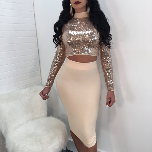 2019 Sexy Lace-up Two Piece Night Out Tight Sequins Dresses