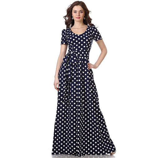 Black Summer Polka Dot Printed Short Sleeves Maxi Casual Dresses With Bow