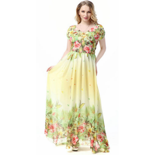 Plus Size Chiffon Beach Flower Printed Summer Maxi Dress