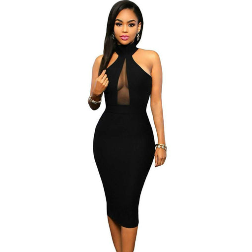 Black Hollow Mesh Patchwork Midi Bodycon Bandage Party Club Summer Dress