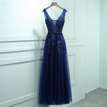 Navy A-line Evening Gown V-neck Elegant Long Appliques Prom Dress