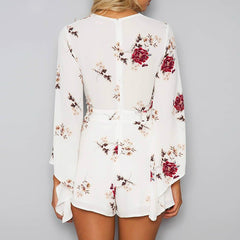 White Floral Print Deep V Neck Long Sleeve Rompers