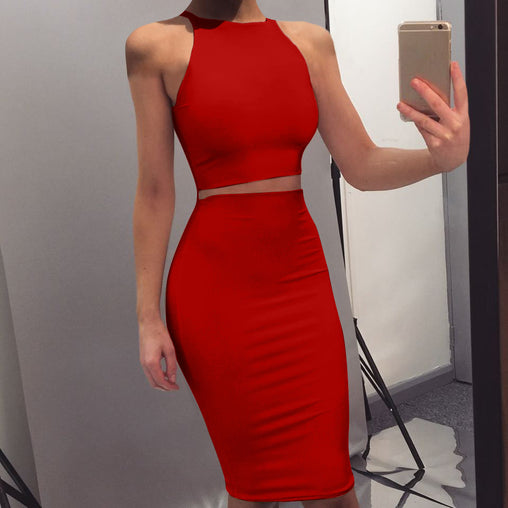 2019 Sexy Nightout Bodycon Tight Knee-Length Two Piece Club Dresses