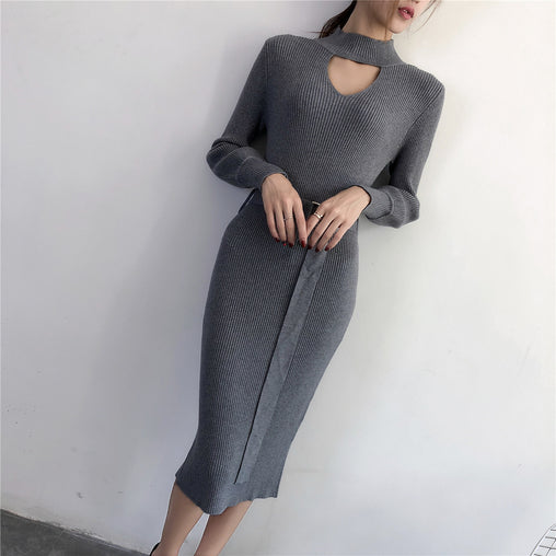 Autumn Spring Cut Out Split Tight Knee-Length Knit Wool Dresses With Belt
