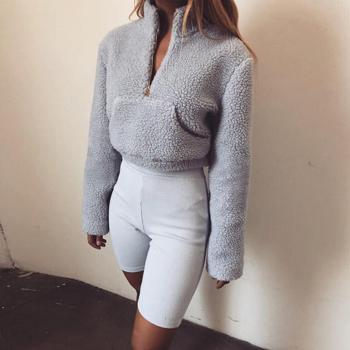 2018 Woman's Autumn Long Sleeve High Neck Zipper Short Sweatshirts