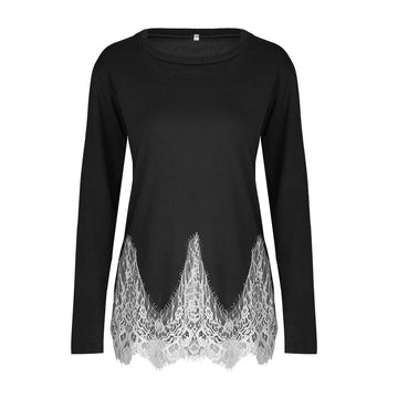 Hot Winter Autumn Lace Patchwork Irregular Hem Basic Blouses