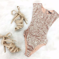 One Piece Swimsuits Gold Sequins Triangle Swimwear