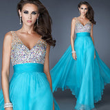 Plus Size V-neck Sequins Beading Chiffon Formal Prom Evening Maxi Dress