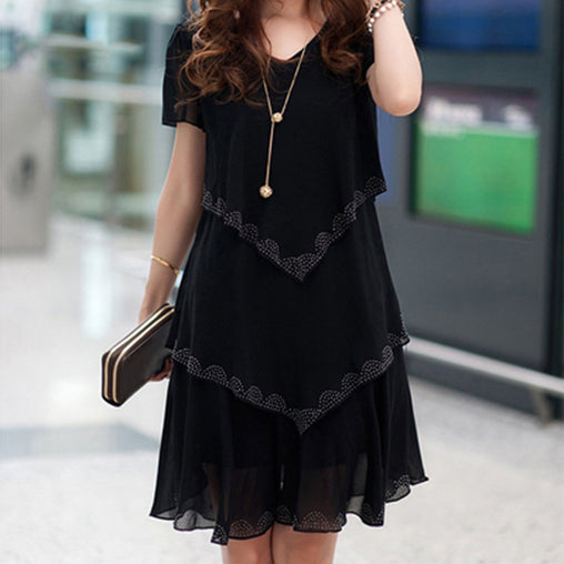 Plus Size Women Chiffon Dresses Summer Party Short Sleeve Casual Ruffled Layered Dress